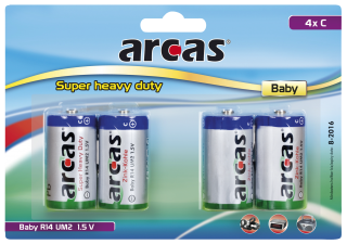 Baby-Batterie Super Heavy Duty 1,5V, Typ C/R14, 4er Pack