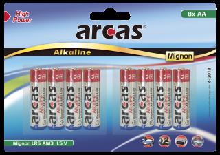 Mignon-Batterie Alkaline 1,5V, Typ AA/LR6, 8er Pack