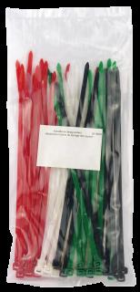 Kabelbinder-Sortiment, farbig sortiert, 4,8x200mm, 50er-Beutel