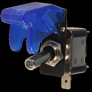 Kill-Switch mit Schutzklappe und LED, blau/transparent, Schaltleistung 12V/35A