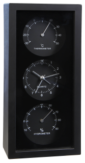 Wanduhr, stehend mit Thermo- u. Hygrometer, Weckfunktion, schwarz/weiß unsortiert