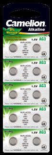 Knopfzelle CAMELION, AG3, 1,5V, Alkaline, 10er-Blister