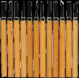 Schnitzmesser-Satz, 12-teilig, Holzgriff