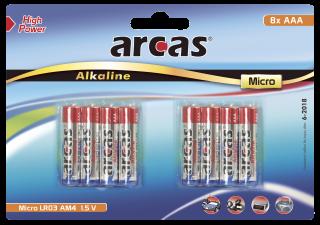 Micro-Batterie Alkaline 1,5V, Typ AAA/LR03, 8er Pack