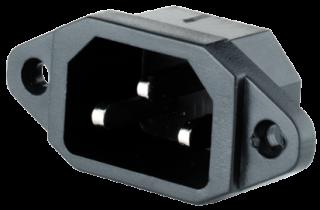Kaltgeräte-Einbaustecker, 3-pins IEC panel, Lötansschluss