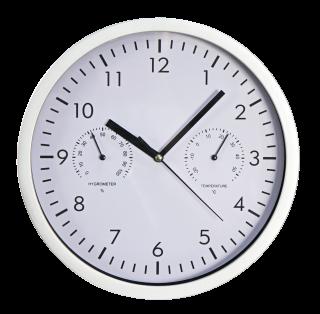 Design-Wanduhr McPower mit Thermo-& Hygrometer, weißes Ziffernblatt, 25cm-Ø