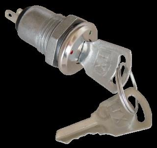 Vollmetall-Schlüsselschalter, 30V-1A, Ø10mm, Lötanschluss