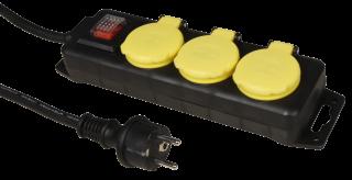 Steckdosenleiste, 3-fach, IP44, Kinderschutz, bel. Schalter, 3m Zuleitung