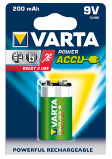 9V-Akku VARTA ''POWER ACCU Ready2Use'' Ni-MH, 200mA, Typ 9V Block, 1er Blister