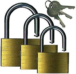 Schlösserset 3-Teilig, 25 mm, 30 mm, 40 mm, mit je 3 Schlüsseln