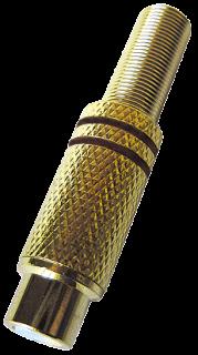 Cinchkupplung, vergoldet mit Knickschutz-Feder, schwarz