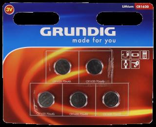 Lithium-Knopfzelle GRUNDIG CR1620, 3V, 5er-Blister