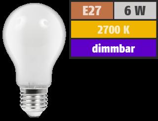 LED Filament Glühlampe McShine ''Filed'', E27, 6W, 540 lm, warmweiß, dimmbar, matt