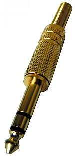Klinken-Stecker 6,35mm Stereo mit Knickschutz vergoldet