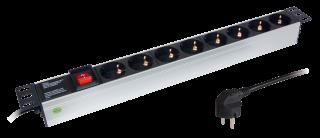 Steckdosenleiste für Rackeinbau 19'', Aluminium, 8-fach, max.3.500W /16A