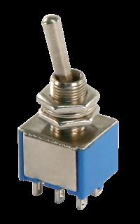 Miniatur-Kippschalter McPower, 2xUM, 6-polig, 3 Stellungen: EIN / AUS / EIN