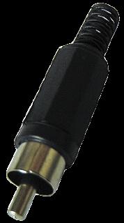 Cinch-Stecker schwarz mit Knickschutz