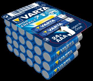 Micro-Batterie VARTA ''HIGH ENERGY'' 1,5V, Typ AAA/LR03, 24er-Haushaltspack