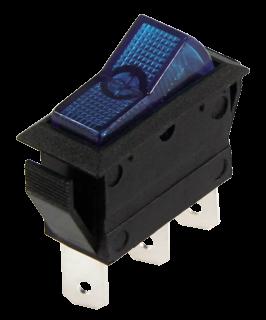 Kfz-Schalter, 3-polig 12V/20A, blau, 2 Stellungen: EIN / EIN