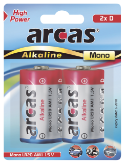 Mono-Batterie Alkaline 1,5V, Typ D/LR20, 2er Pack