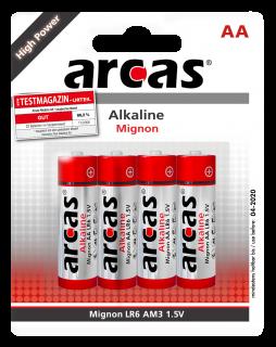 Mignon-Batterie Alkaline 1,5V, Typ AA/LR6, 4er Pack