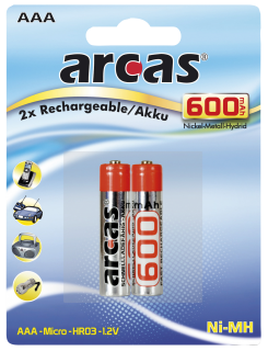 Micro-Akku 1,2V, 600mAh, Typ AAA, NiMH, 2er Blister