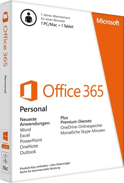 Microsoft Office 365 Personal (1 User Account) (einmalige Zahlung)
