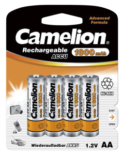 Mignon-Akku CAMELION 1,2V, 1800mAh, Typ AA, NiMH, 4er-Blister