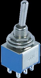 Miniatur-Kippschalter McPower, 250V/3A, 6-polig, 2 Stellungen: EIN / EIN