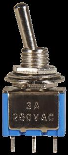 Miniatur-Kippschalter McPower, 250V/3A, 3-polig, 2 Stellungen: EIN / EIN