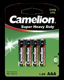 Micro-Batterie CAMELION Super Heavy Duty 1,5 V, Typ AAA, 4er-Blister