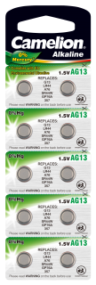 Knopfzelle CAMELION, AG13, 1,5V, Alkaline, 10er-Blister