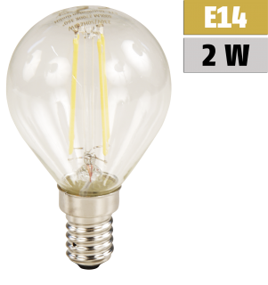 LED Filament Tropfenlampe McShine ''Filed'' E14, 2W, 200Lm, warmweiß