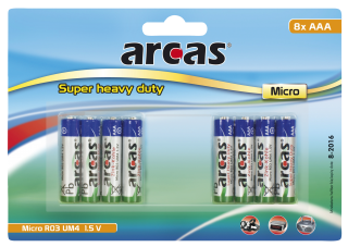 Micro-Batterie Super Heavy Duty 1,5V, Typ AAA/R03, 8er Pack
