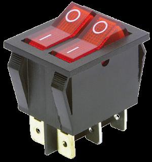 Wippenschalter, 6-polig, rote Wippe, AC 250V / 15A, 2 Stellungen: EIN / AUS